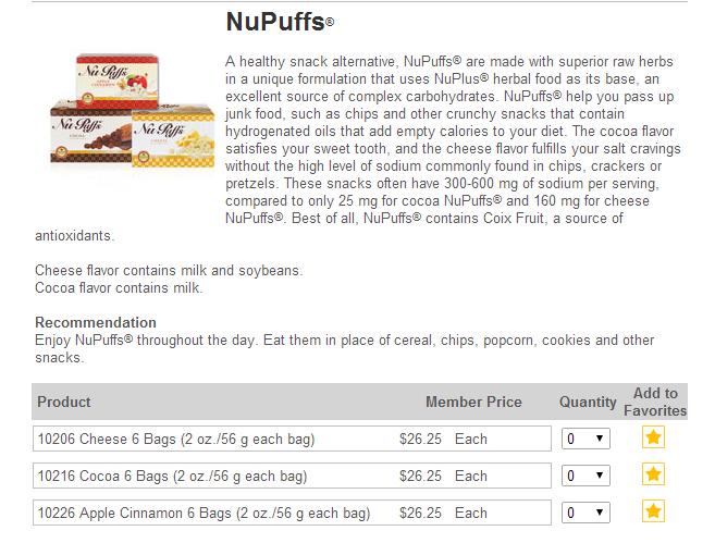 NuPuffs USA Sunrider Orders Canada Diana Walker
