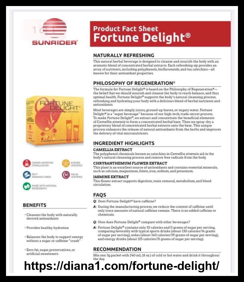Sunrider Fortune Delight Product Fact Sheet Diana Walker