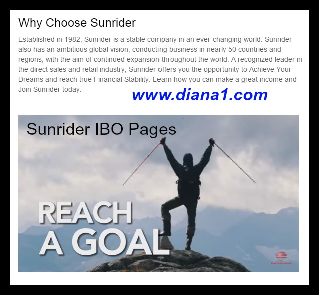 Sunrider IBO Pages Diana Walker Sunrider Business www.diana1.com