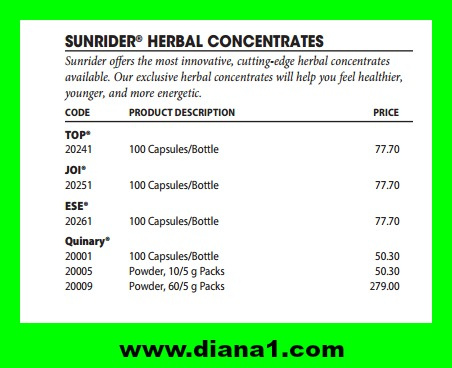 Sunrider Prices Canada Quinary Diana Walker www.diana1.com