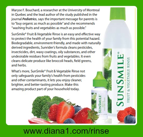 Fruit and Vegetable Rinse Sunrider Canada and USA Sunsmile www.diana1.com/rinse