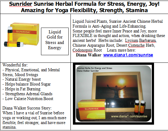 Sunrise for Energy herbs help with Stress Emotional Physical Mental Diana Walker Sunrider www.diana1.com/sunrise