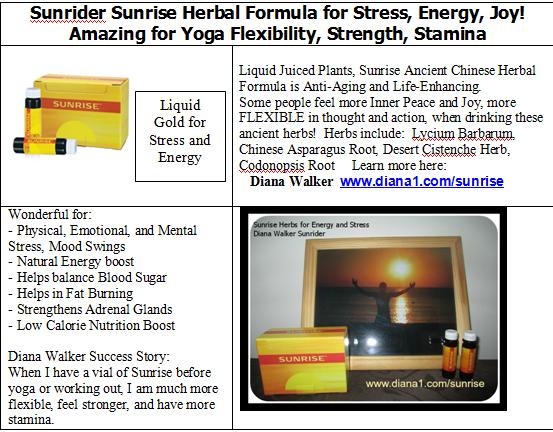 Sunrise for Energy herbs help with Stress Emotional Physical Mental Diana Walker Sunrider www.diana1.com/sunrise