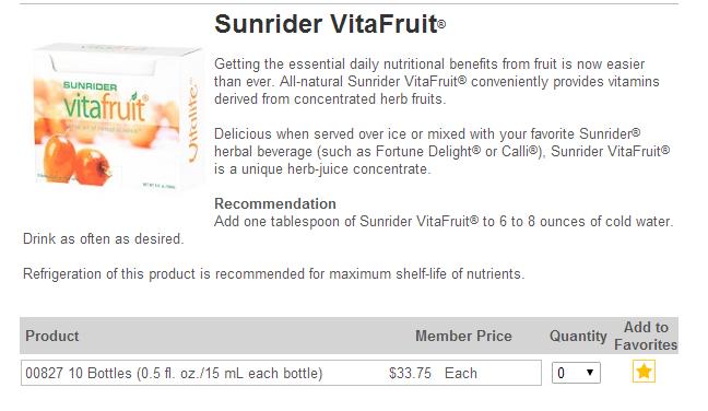 VitaFruit USA Sunrider Orders Canada
