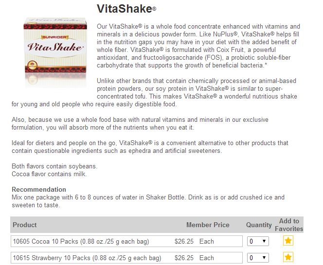 VitaShake USA Sunrider Orders Canada